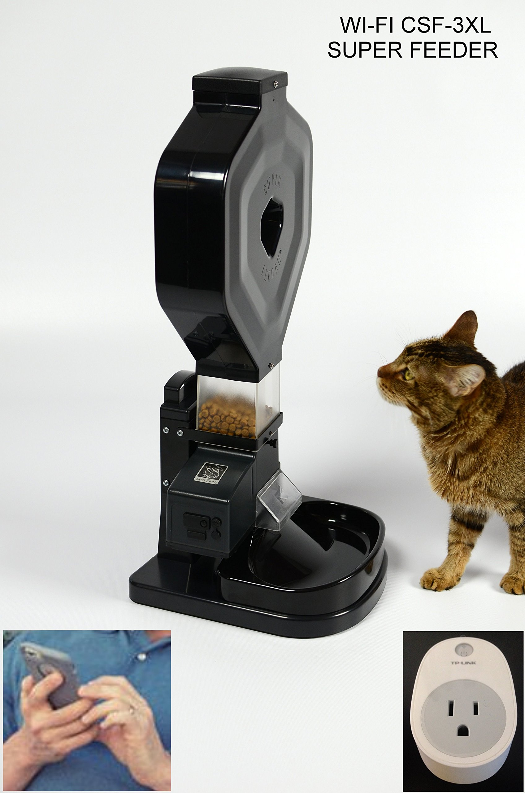 Wi-Fi Automatic Cat Feeder, CSF-3XL Super Feeder, Stand/Bowl, Wi-Fi Plug