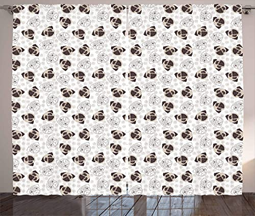 Ambesonne Dog Curtains, Pug Portraits Traces Paw Print Background Canine Pet Illustration Mammal Animal, Living Room Bedroom Window Drapes 2 Panel Set, 108 X 84 , Beige Brown