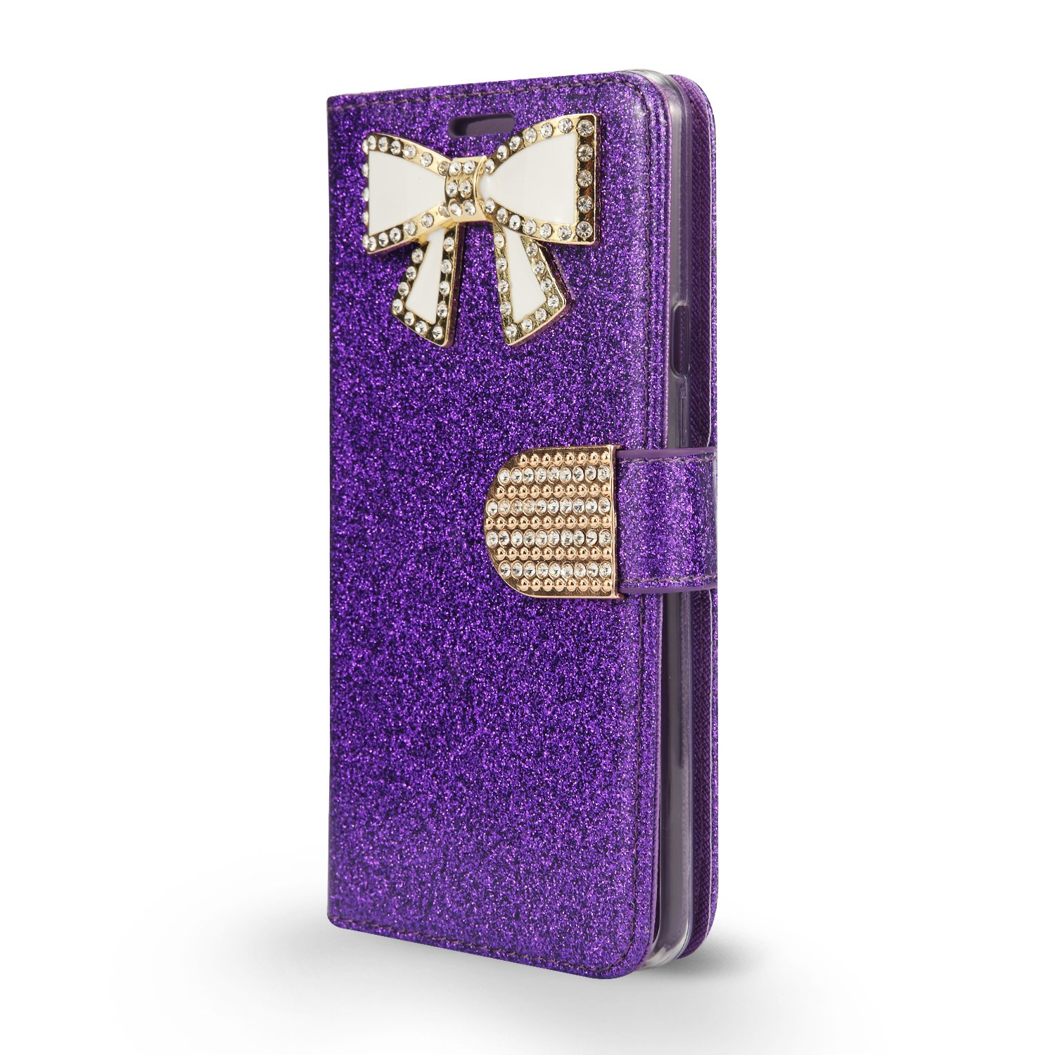 Moto G6 Play Case, Moto G Play 6th Gen Case, Shiny PU Leather Sparkle Rhinestone Butterfly Wallet Flip Phone Protective Case with Card Slots for Moto G6 Play (6th Generation) (WBL Dark Purple)