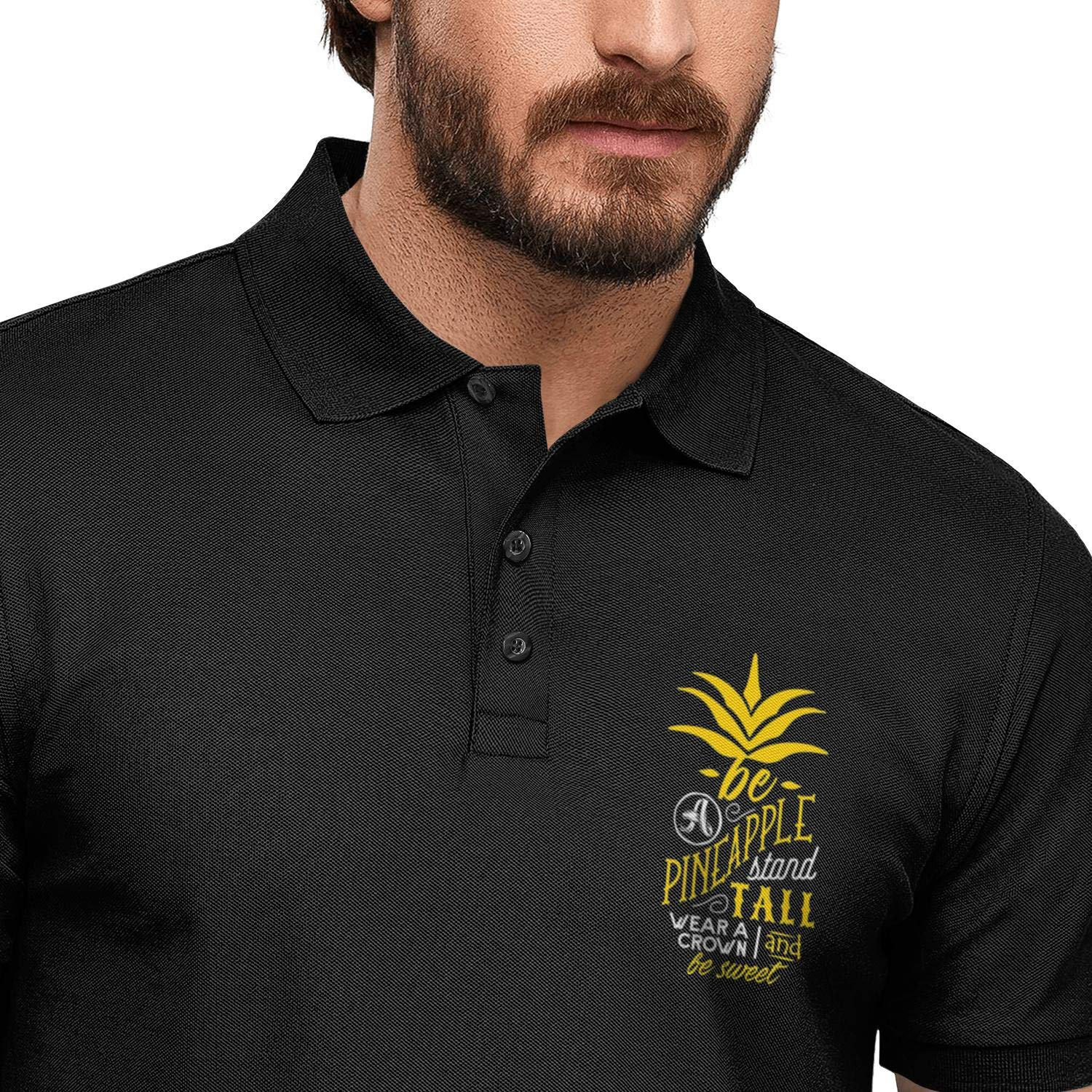 WYFEN Mens Printed Polo Shirt Be A Pineapple Stand Tall Funny Aloha Beach Casual Short Sleeve Tee