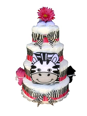 Amazon 4 Tier Black And Pink Zebra Baby Shower Diaper Cake
