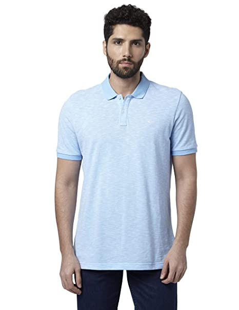ce1d5725 Park Avenue Solid Cotton Medium Blue Regular Fit Polo Neck Half Sleeve T- Shirt: Amazon.in: Clothing & Accessories