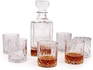 7 Piece Glass Decanter Set With Glasses. 6 Small Glasses (7.5 Oz) & 1 Decanter (32Oz). Old Fashioned Glass Sets - Drinking Glassware Sets. Decanter Sets With Drinking Glasses Set. Home Bar Cart Decor