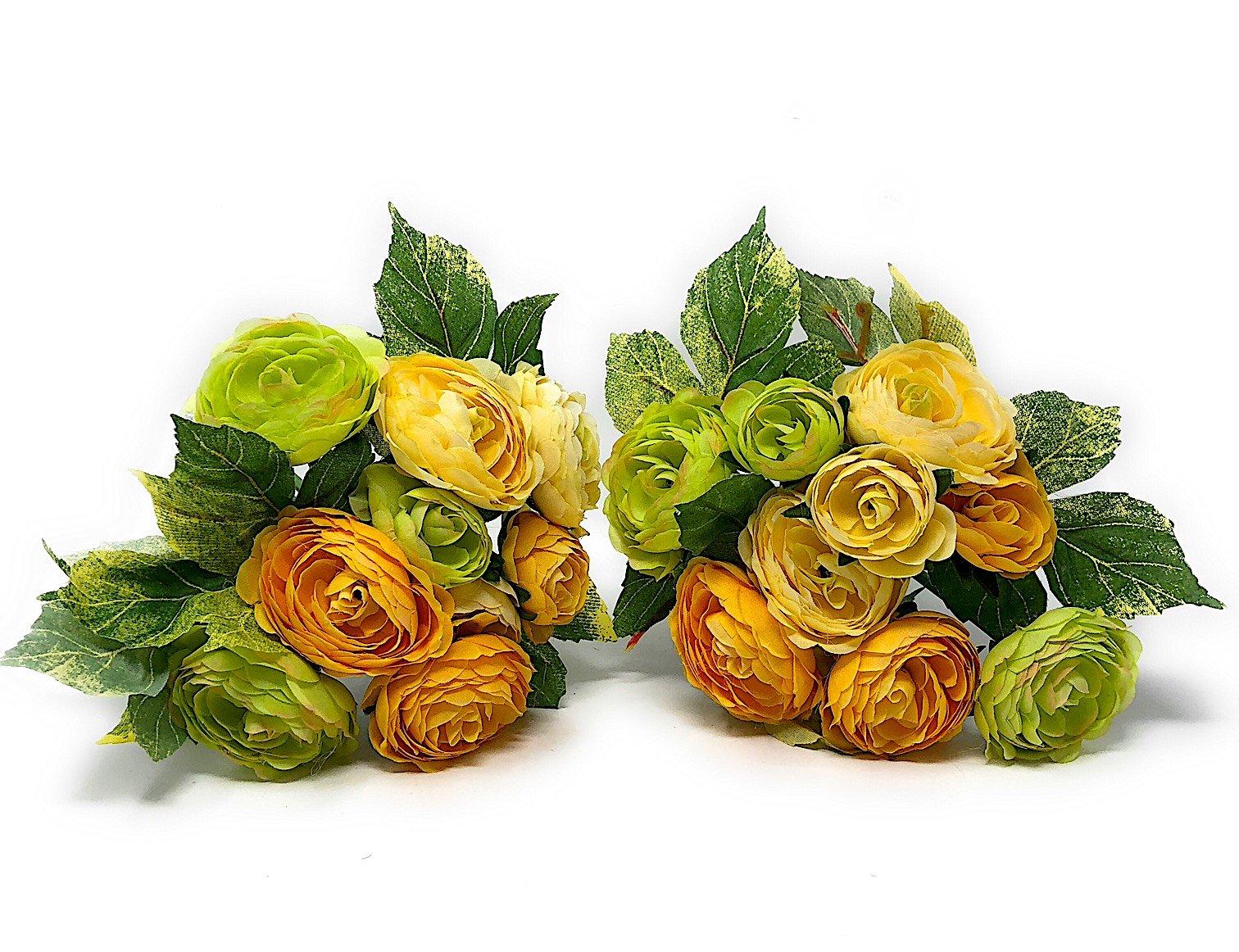 "RAZ Imports Set of 2 Artificial Flowers Bouquet Ranunculus Bundle Ornamental Wall Table Wedding Party Decoration Arrangements 8.5"" H (Creme/Yellow/Pale Green)"