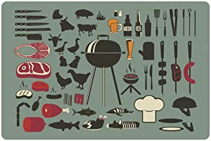 Lunarable BBQ Party Pet Mat for Food and Water, Composition with Animal Silhouette Utensils and Meat Types, Rectangle Non-Slip Rubber Mat for Dogs and Cats, Pale Sage Green Black Dark Coral