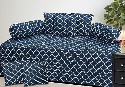 Inaya Home Decor Diwan Set of 8 Pieces, 100% Cotton, Blue Chain Pattern