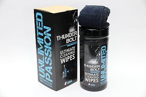 Toallitas de limpieza para coches y motos Thunderbolt de Unlimited Passion con desengrasante para 30 usos, elimina insectos, alquitrán y limpia el ...