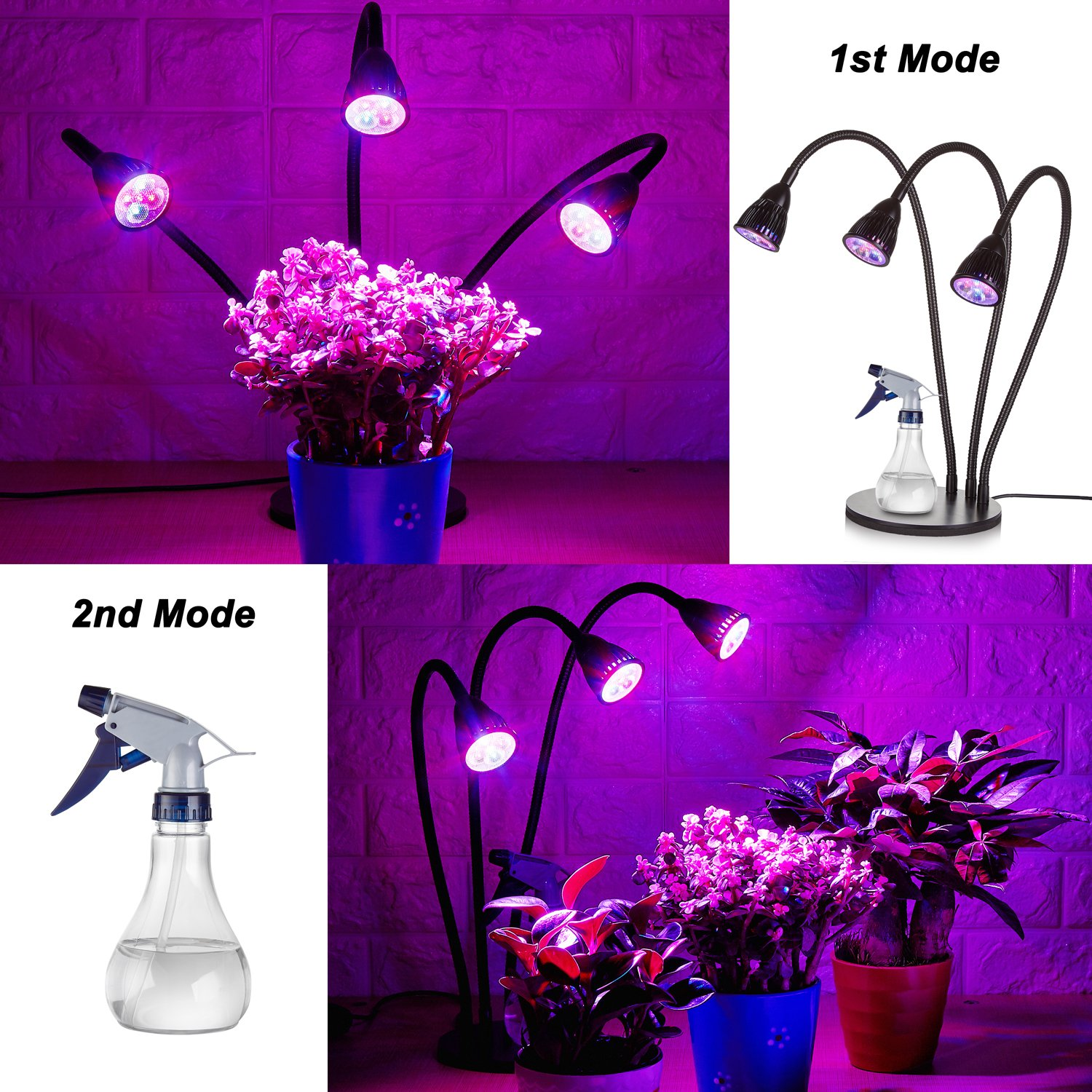 NEW Three Heads Plant Grow Table Light, 360 Degree Flexible and Three on / off Switch for Indoor Plants Greenhouse Office,LED Plant Grow lamp(+Spray Bottle ) by IDB Light (Image #6)