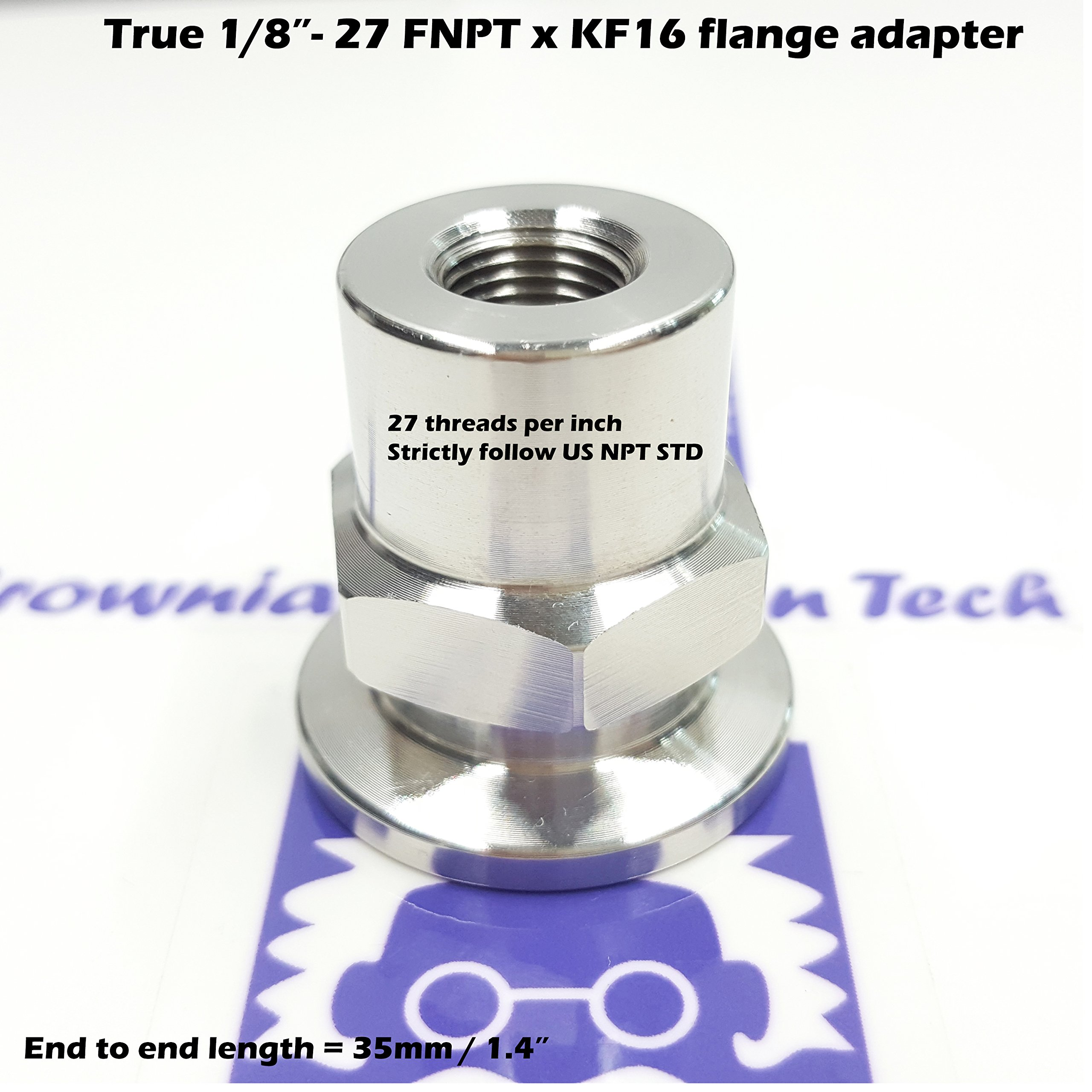 "_BMT_ True 1/8"" FNPT X KF16 Flange vacuum adapter, made of SS304, strictly follow NPT standard, 27 threads per inch, 60 degree thread angle"