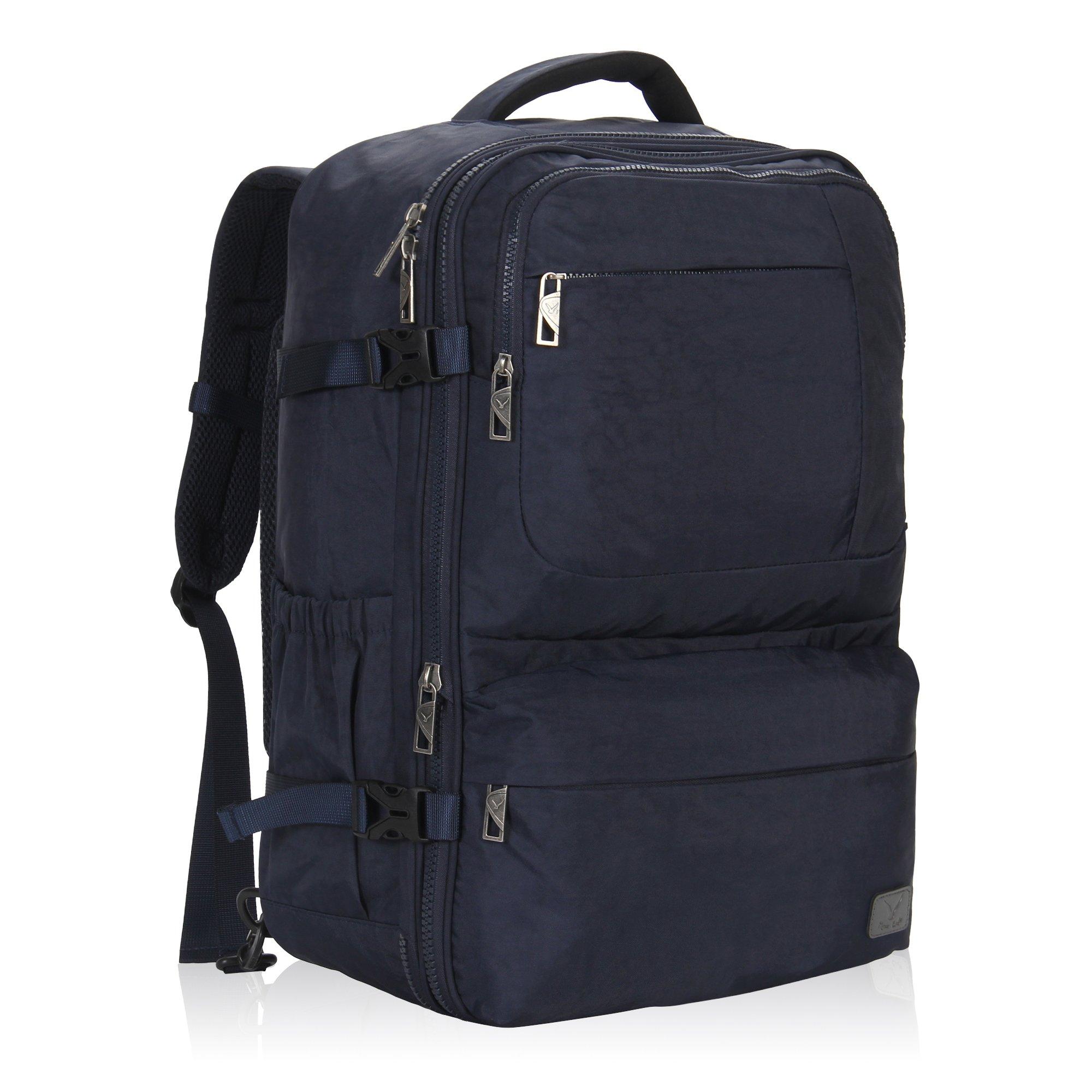 Hynes Eagle 44L Carry on Backpack Flight Approved Compression Travel Pack Cabin Bag, Dark Blue