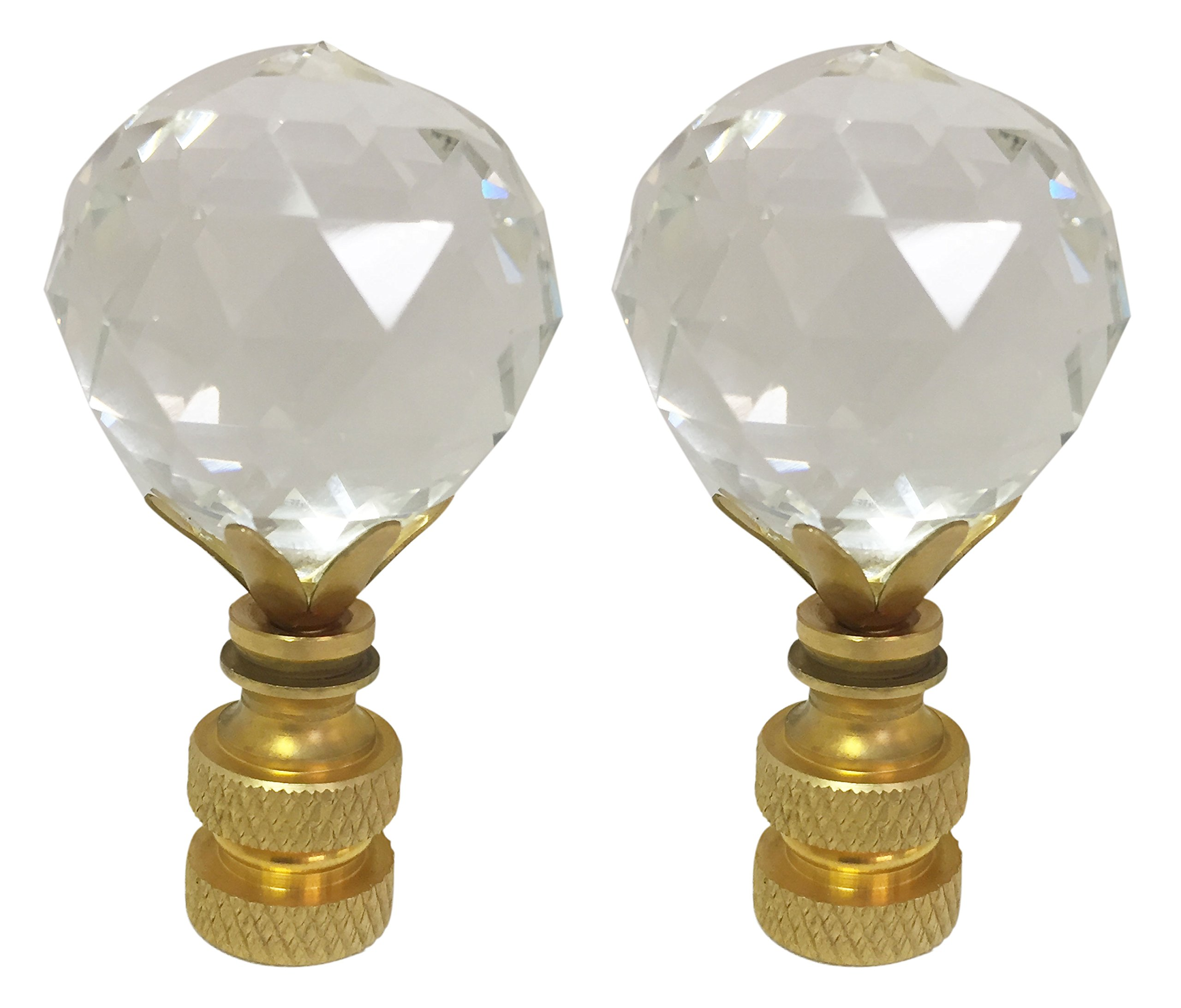 Royal Designs CCF2005M-PB-2 Medium Faceted Diamond Cut Clear K9 Crystal Finial for Lamp Shade with Polished Brass Base, Set of 2, 2 Piece