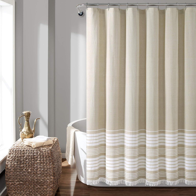 Lush Decor, Taupe Nantucket Yarn Dyed Cotton Tassel Fringe Shower Curtain, 72