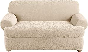 Surefit Home Décor Stretch Jacquard Damask T-Cushion Loveseat Two Piece Slipcover, Form Fit, Polyester/Spandex, Machine Washable, Oyster