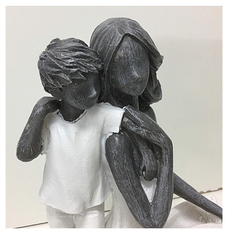 Jolipa Figurine d/écorative Statue Moderne Maman Enfant b/éb/é avec Amour Maternel r/ésine Gris Blanc