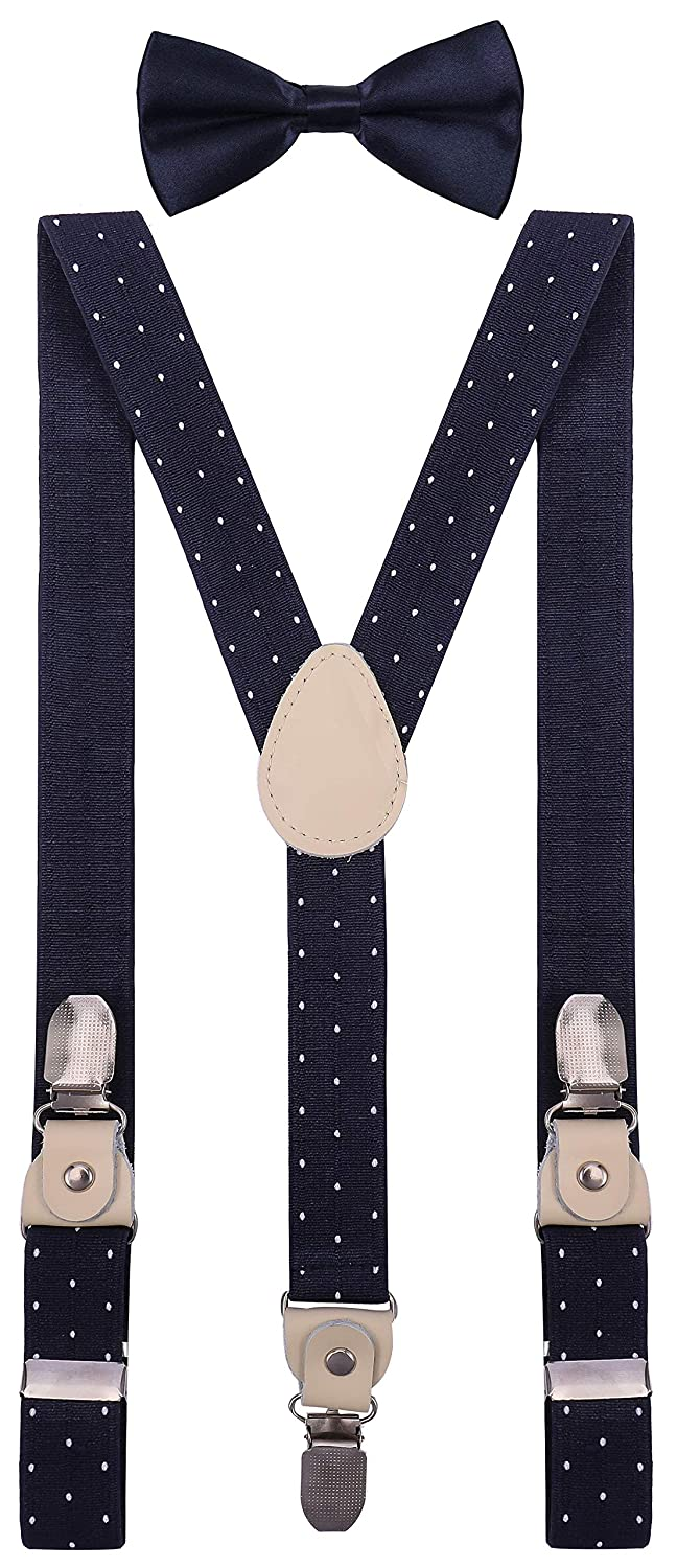 YJDS Mens Boys Leather Suspenders and Bowtie Set Strong Clips HGHWEUG001254