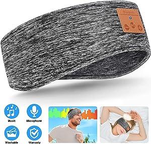 Sleep Headphones Upgraded Bluetooth Headband, Wireless 5.0 Sports Headband Headphones with Ultra-Thin HD Stereo Speakers Adjustable, Music Sweatband for Side Sleeper Jogging Yoga Travel (Grey)