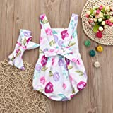 Fartido Romper Baby Girl Floral Backless Sleeveless Jumpsuit Headband Outfits