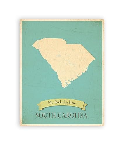 Vintage South Carolina Map.Amazon Com My Roots South Carolina Personalized Wall Map 11x14