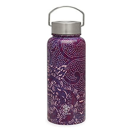 Gaiam Water Bottle Wide-Mouth Stainless Steel, Aubergine Swirl, 18 oz