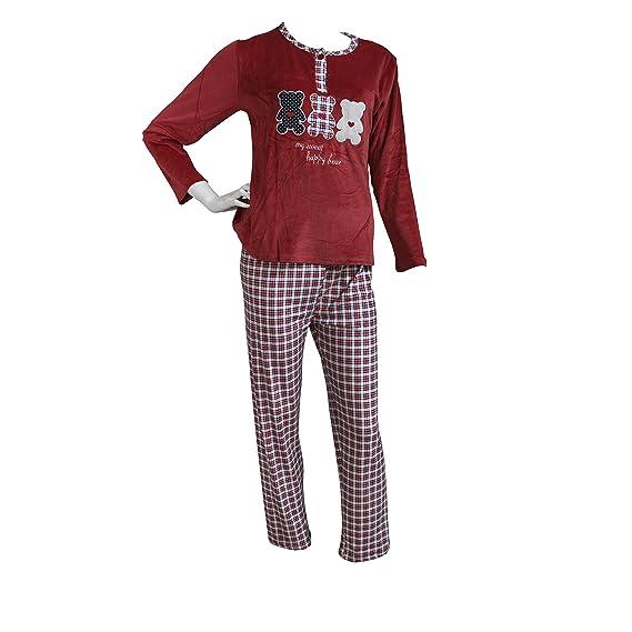 baf00b631b3c FERETI (M) Pyjama Femme Velours Rouge Bleu Automne Hiver 2 Pièces Velours  Ours Panda