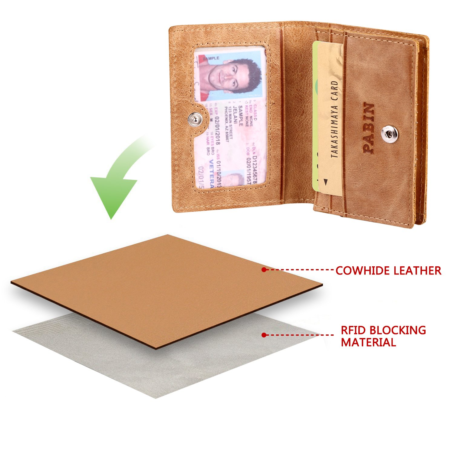 RFID Blocking Credit Card Holder Leather ID Case for Men Pabin (Vintage Brown) by Pabin (Image #5)