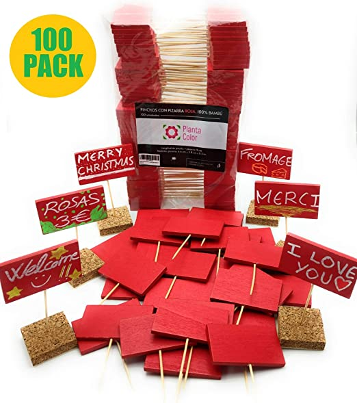 Planta Color Pack 100 Mini Carteles Rojos (Madera de Bambú ...