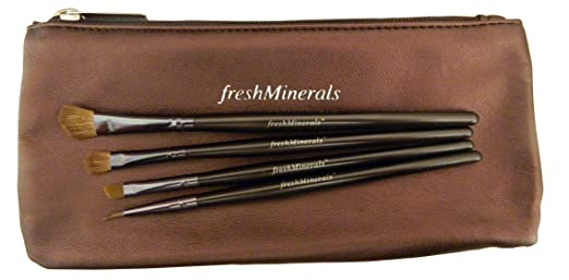 FreshMinerals Brush and Cosmetic Bag, 4 Count