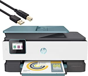 HP OfficeJet Pro 8000 Series All-in-One Instant Ink Ready Inkjet Printer - 4-in-1 Print, Scan, Copy, Fax for Business Office - WiFi and Cloud-Based Wireless Printing - Blue - BROAGE 4FT Printer Cable
