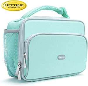 Amersun Kids Lunch Box,Durable Insulated School Lunch Bag with Padded Liner Keep Food Hot Cold for Long Time,Small Water-resistant Thermal Travel Office Lunch Cooler for Girls Boys-2 Pocket,Light Blue