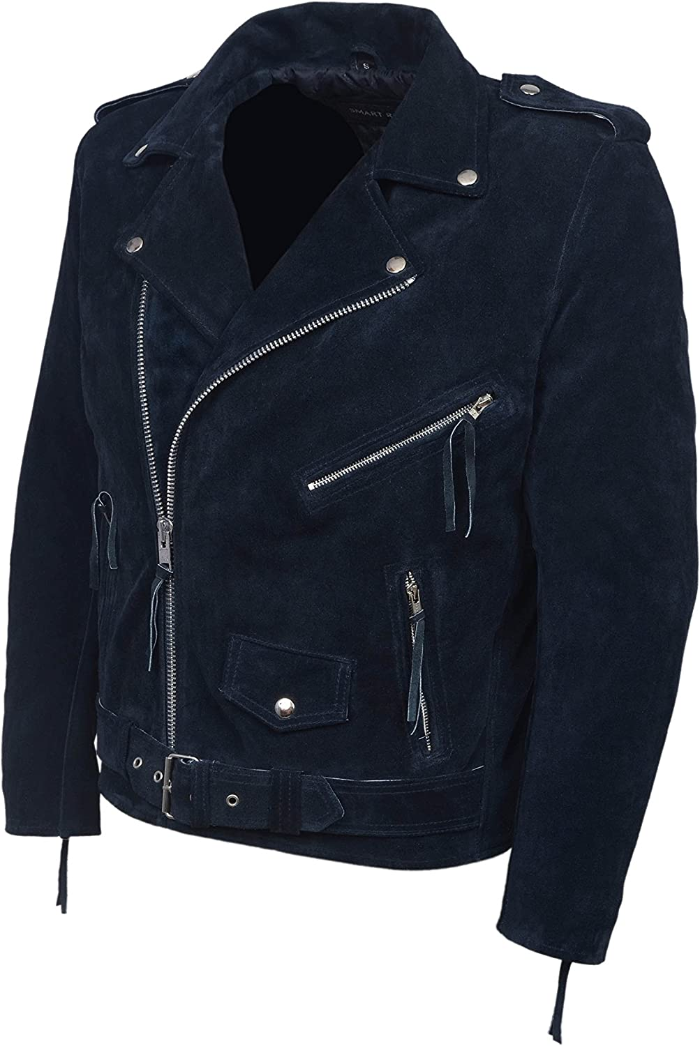 Brando Navy Blue Real Suede Men\'s Classic Motorcycle Biker Real Leather Jacket MBF 81ijLnoZ7rL