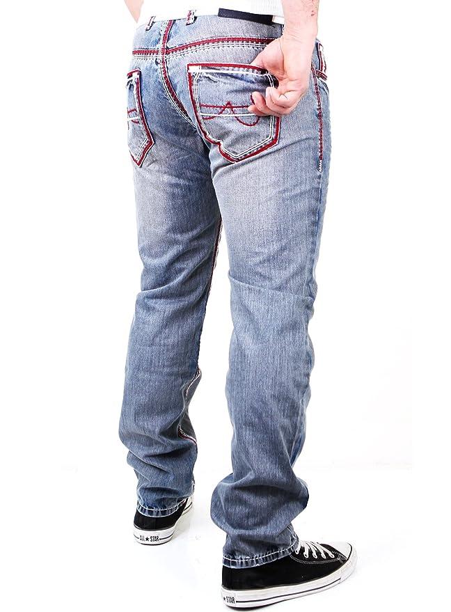 Reslad Herren Jeans Hose Dicke Kontrast Naht Used Look Jeanshose  Amazon.de   Bekleidung 4233fa63e0