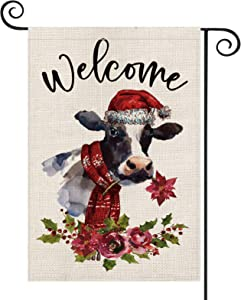 AVOIN Christmas Welcome Watercolor Cow Poinsettia Garden Flag Vertical Double Sized, Winter Holiday Flower Berry Leaf Yard Outdoor Decoration 12.5 x 18 Inch