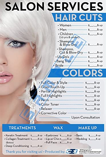 Price List for Beauty Salon by Clipper Intl Posters - Salon Posters - 36 X 24 Inches -Laminated