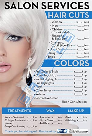 Amazon.com: Price List for Beauty Salon by Clipper Intl Posters - Salon Posters - 36 X 24 Inches -Laminated: Office Products