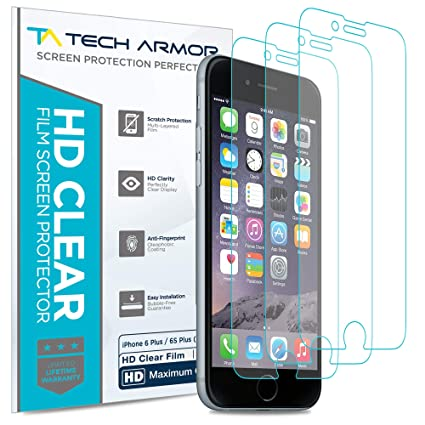 promo code 7b29f 214ad Tech Armor High Definition HD-Clear Film Screen Protector (Not Glass) for  Apple iPhone 6 Plus / 6S Plus (5.5-inch) [3-Pack]