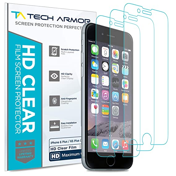 promo code c162e af9bf Tech Armor High Definition HD-Clear Film Screen Protector (Not Glass) for  Apple iPhone 6 Plus / 6S Plus (5.5-inch) [3-Pack]