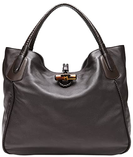 c8ba90f0d99 Amazon.com  Gucci Dark Brown Leather Hip Bamboo Large Tote Bag  Shoes