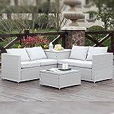 Salon de jardin en résine imitation rotin blanc Modèle ...