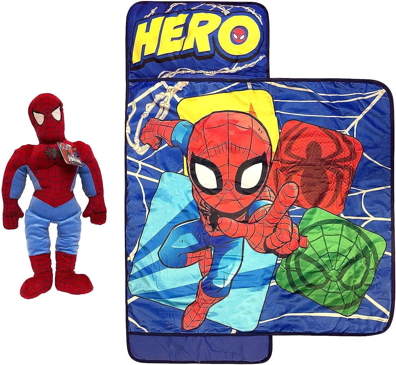 Jay Franco Marvel Spiderman Nap Mat and Pillow Buddy Bundle
