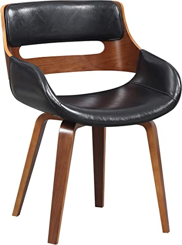 Wood and Black Faux Leather Mid-Century 18-Inch Dining Chair