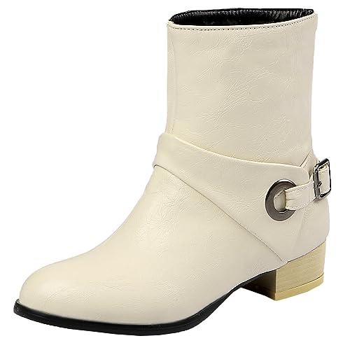 HooH Mujer Chelsea Botas Oeste Hebilla Vaquera Botines: Amazon.es: Zapatos y complementos
