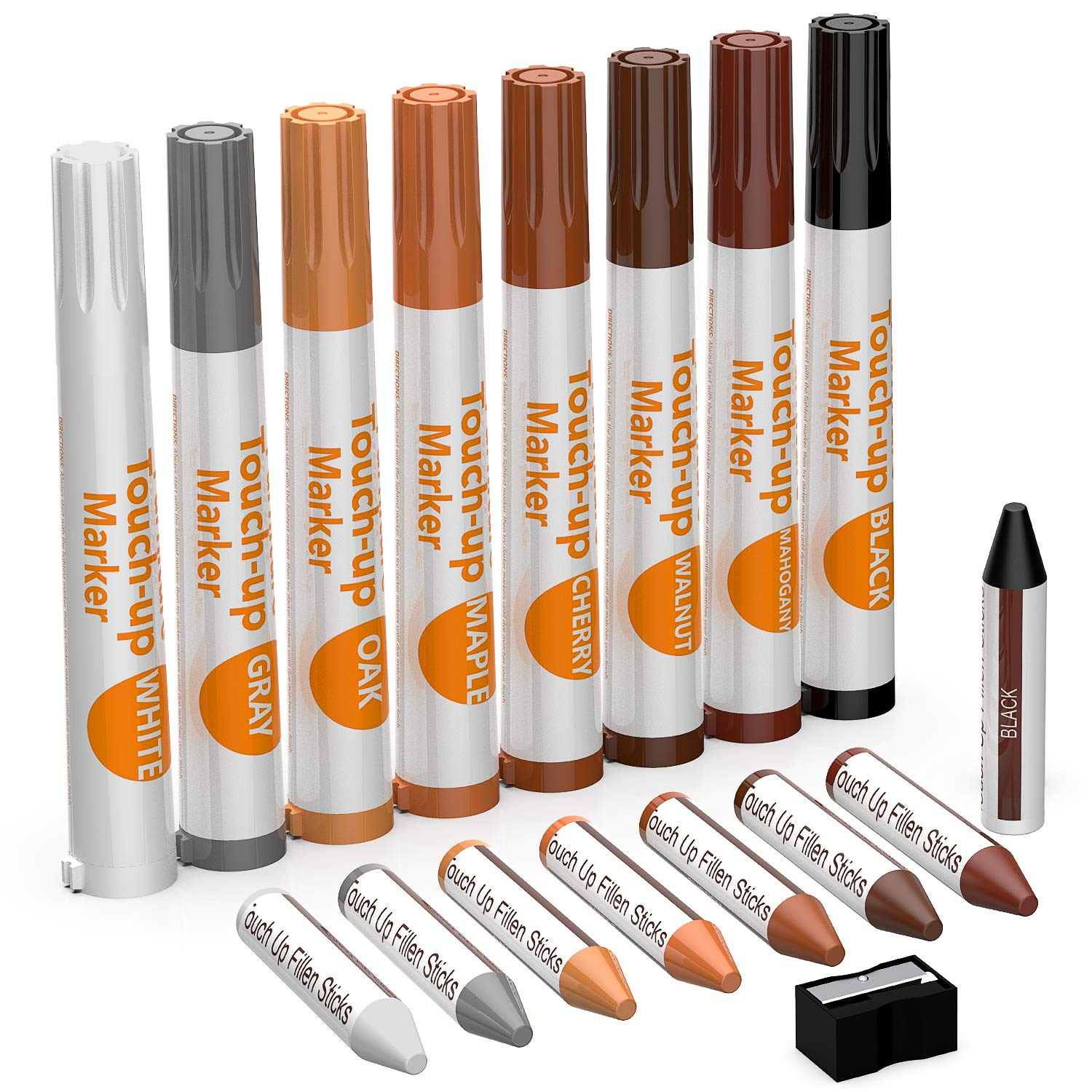 NADAMOO Furniture Touch Up Marker 17 Pcs Repair Kit Cover Wood Scratch - 8 Felt Tip Markers & 8 Filler Crayon Sticker & 1 Sharpener, 8 Color - White, Black, Gray, Mahogany, Walnut, Cherry, Maple, Oak