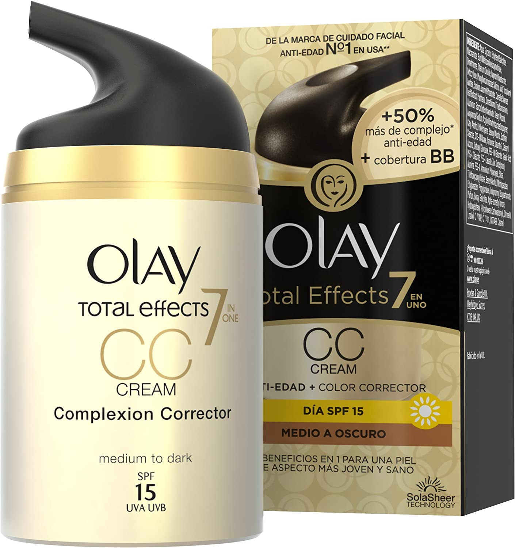 Olay Total Effects 7 en 1 CC Cream Anti-Edad Correctora de Tono Medio A Oscuro SPF 15 - 50 ml: Amazon.es: Belleza