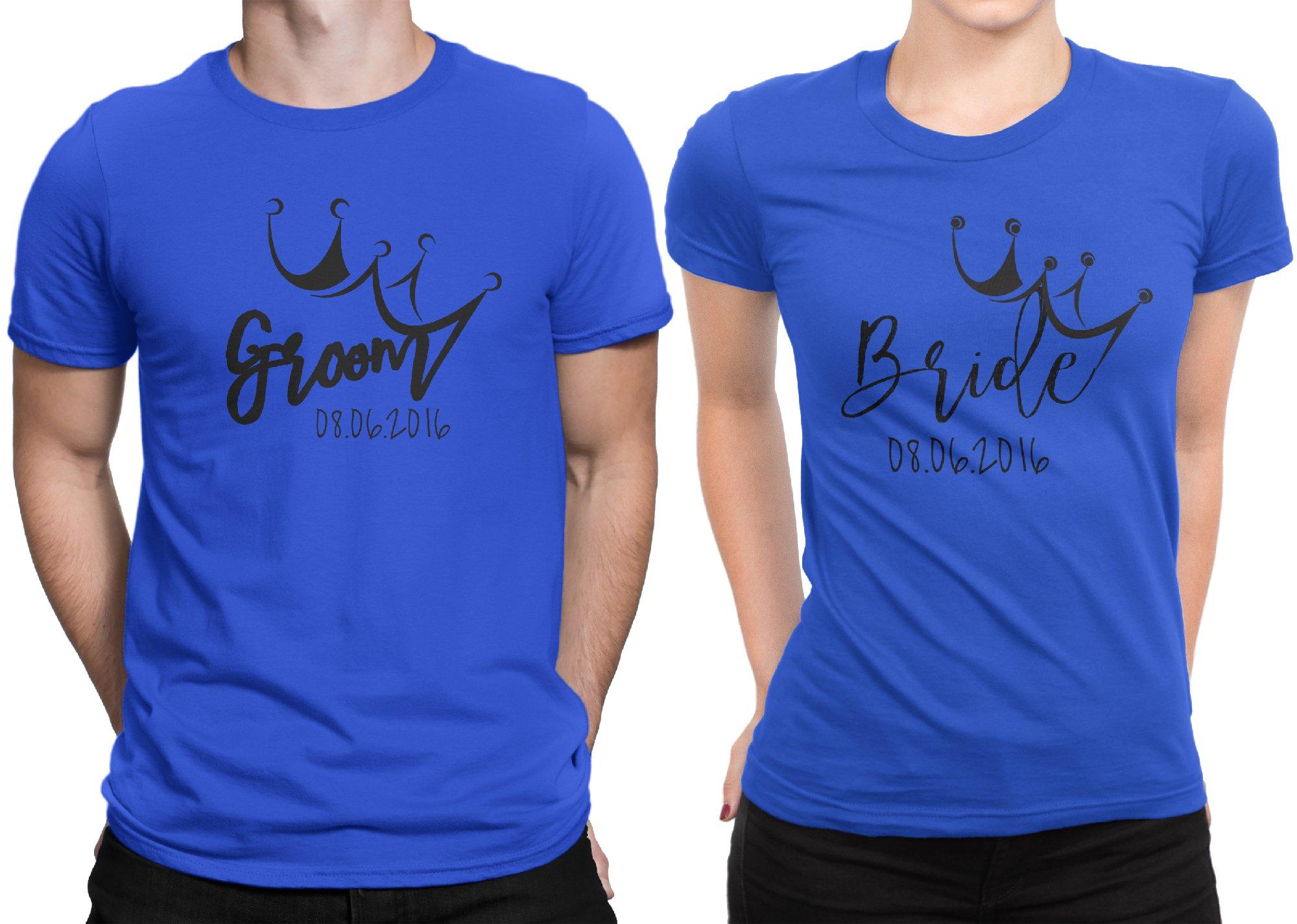Groom Bride Crown Newly Married Couple Matching T-shirt Honeymoon valentines Men X-Large / Women Medium | Royal Blue - Royal Blue