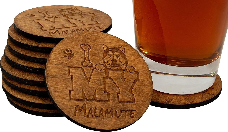 I Love My Malamute - 4 Piece Handmade Engraved 3.5