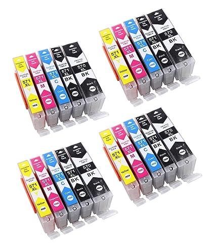 Cartuchos de Impresora con Chip Compatible con Canon pgi-570 cli-571 Apto para Impresora Canon Pixma MG de 5700 MG de 5750, Color 4xSchwarz, ...