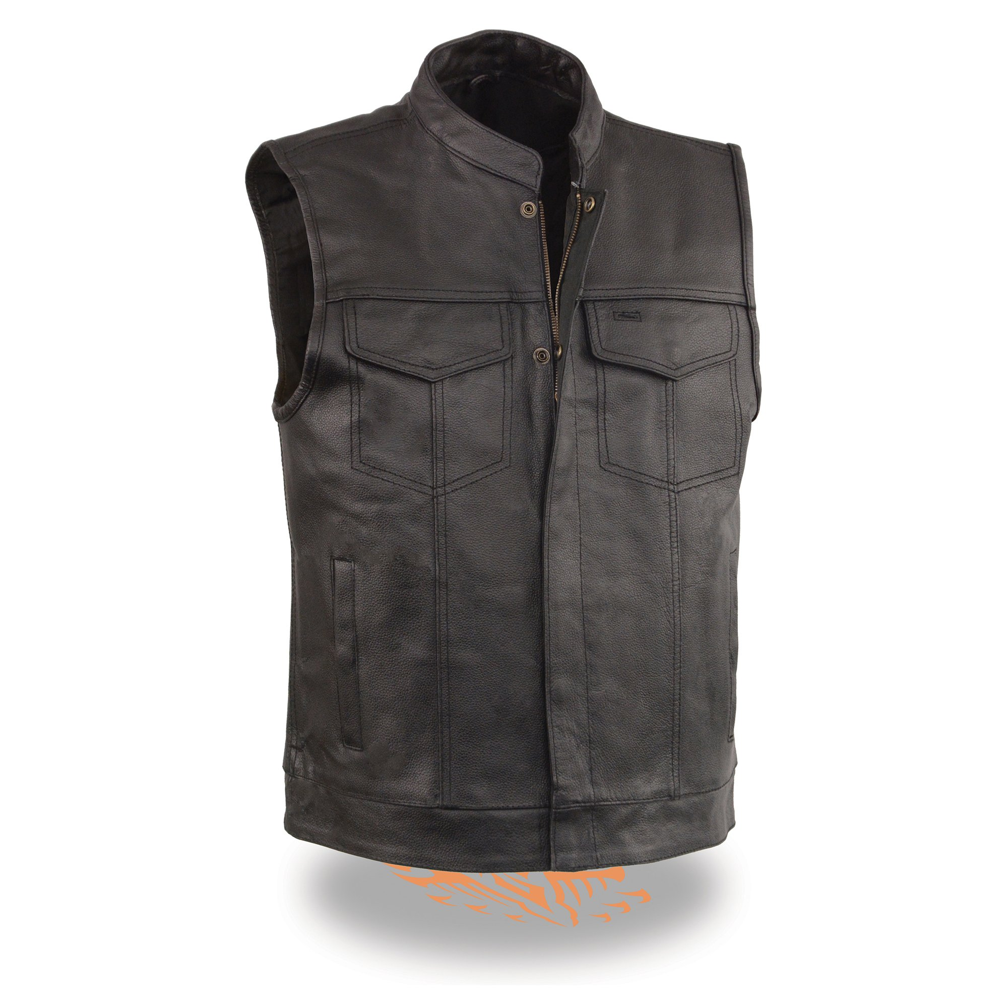 Men's Leather Motorcycle Vest Zipper & Snap Closure w/ 2 Inside Gun Pockets & Single Panel Back (5X - Big)
