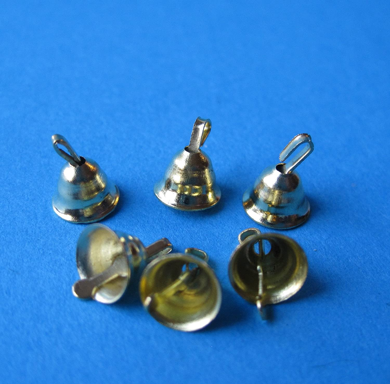 6 Mini Gl/öckchen Glocken Baumschmuck f/ür den Tannenbaum goldfarben Weihnachten Puppenhaus Miniatur 1:12