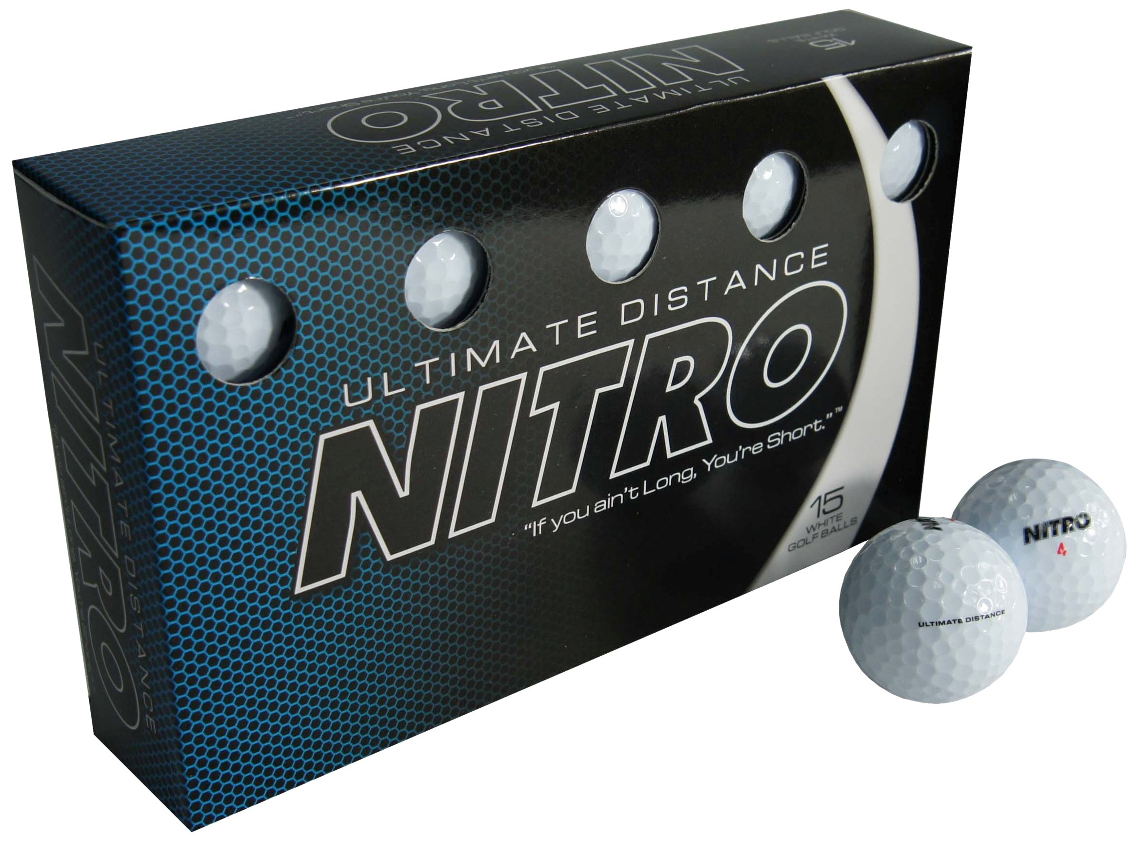 Nitro Long Distance High-Durability Golf Balls (15PK) All Levels Ultimate Distance Titanium Core High Velocity Great Stop & Sticking Ability Golf Balls USGA Approved-Total of 15-White by Nitro