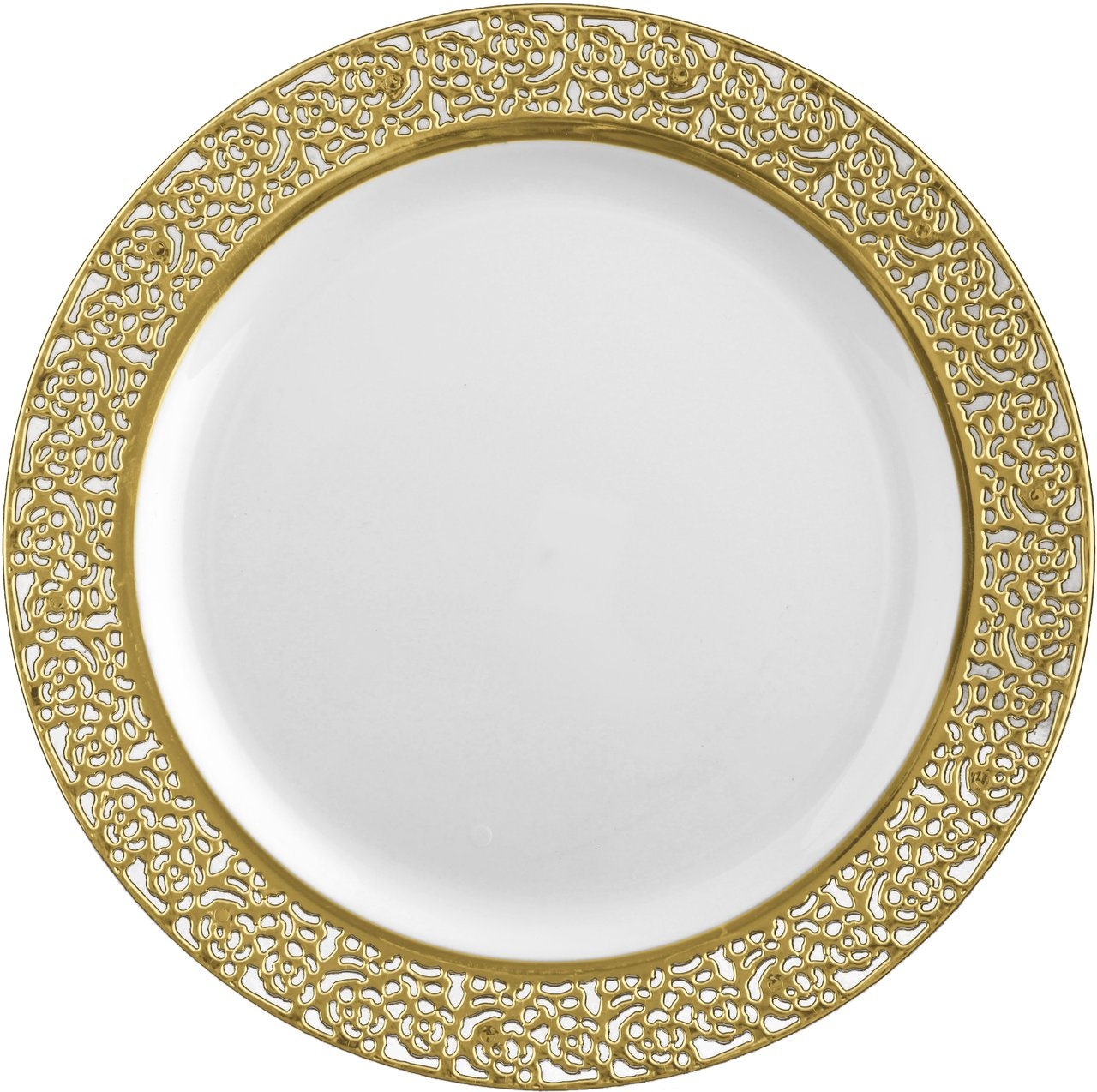 Amazon.com | Inspiration White with Gold Lace Rim 10.25\  Heavyweight Plastic Dinner Plates 10 Count Dinner Plates  sc 1 st  Amazon.com & Amazon.com | Inspiration White with Gold Lace Rim 10.25 ...